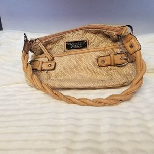 Relic Collection Tweed type & Tan Leather Purse